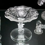 Depression era elegant glass comport with Fostoria's infamous Navarre etching designed by Edgar Bottome.
