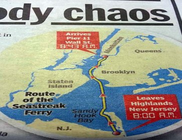 The high speed ferry started in SANDY HOOK, traveled through the NARROWS and crash into the dock. Same star configuration as the Aurora and Newtown.