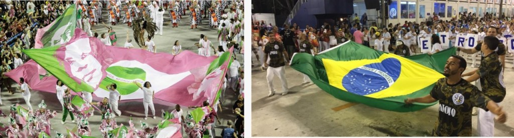 "O contraste entre a bandeira ficcional da Mangueira, louvando ""índios, negros e pobres"" e a bandeira brasileira da Vila, levada por homens brancos vestidos de verde-militar"