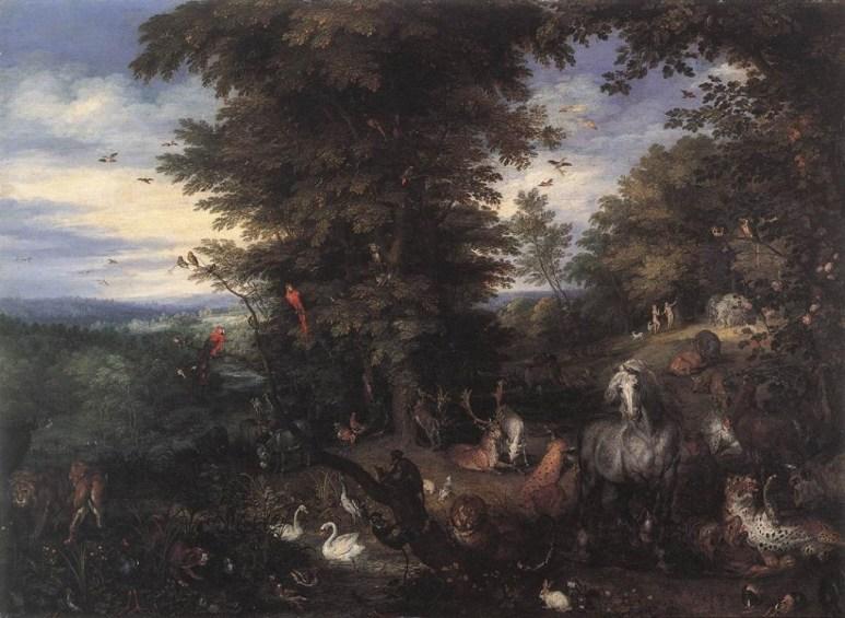 """Quadro """"Adão e Eva no Jardim do Éden"""", de Jan The Elder Brueghel (1615)"""