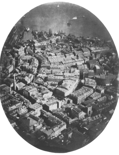 La primera fotografía aérea que se conserva, de James Wallace Black, Boston, 1860.