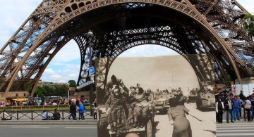 Fotografía de la ocupación alemana de París en 1940 sobre una foto actual. © Julien Knez.