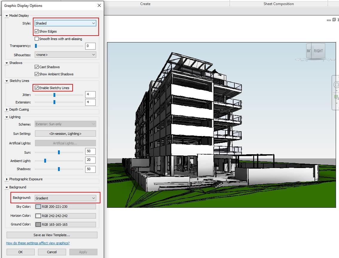 revit 3d presentation views