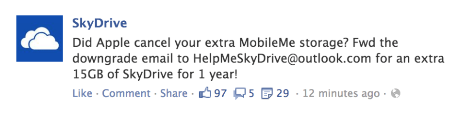 Move from MobileMe to SkyDrive