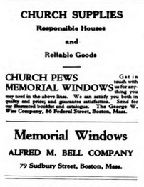 This clip, from a 1922 issue of the Universalist Leader, shows that advertizers thought we might buy stained glass.