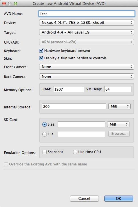 Creating A Nexus 4 Emulator