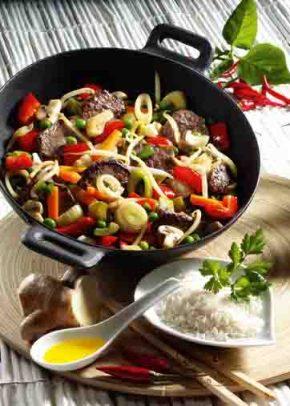 Gemüsepfanne mit Rindfleisch (für Diabetiker) Foto: Wirths PR