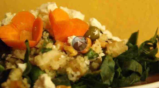 Bulgur-Spinat-Salat mit Wasabi-Dressing