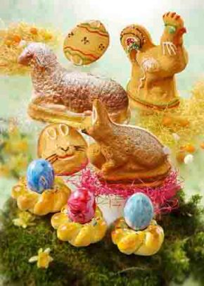 Osterbäckerei: Osterkränze mit Ostereiern Foto: www.ostermenue.de