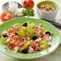Bohnen-Tomatensalat mit Schafskäse für Diabetiker