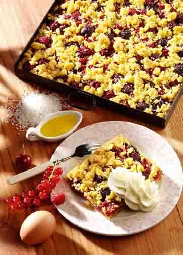 Krümelkuchen mit Sommerfrüchten (cholesterinarm) Foto: Wirths PR