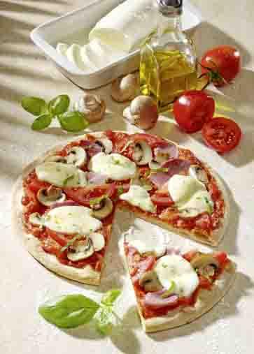 Pizza mit Schinken und Pilzen Foto: Wirths PR
