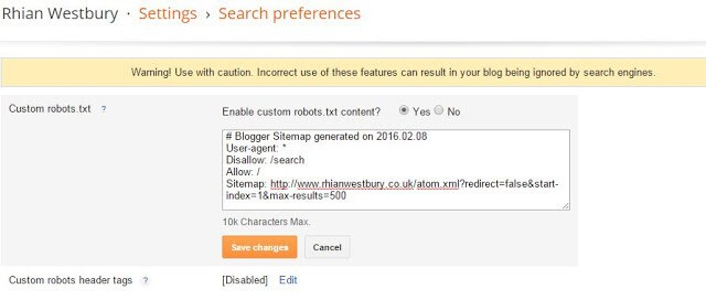 adding a sitemap to blogge
