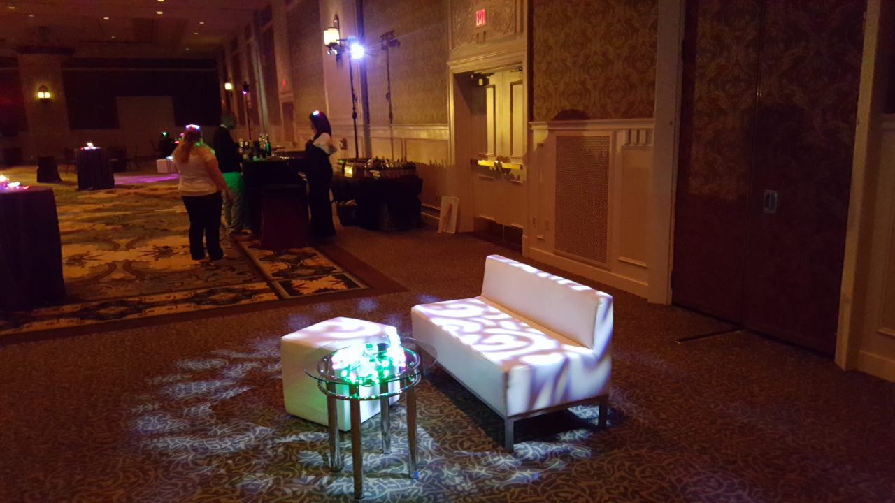 Gobo projectors adding shadows to furniture