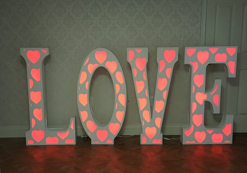 "These LOVE letters ar 45"" tall with internal lights that can change color"