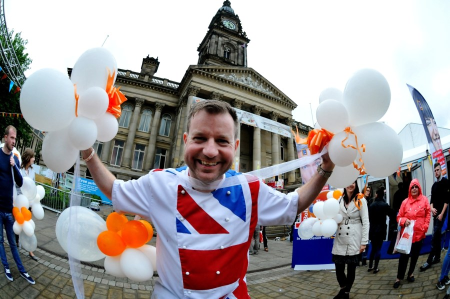 The 10th annual Bolton Food and Drink Festival, Victoria Square, Bolton, Lancashire. Chef Andrew Nutter leads the Conga to close the festival. Picture by Paul Heyes, Monday August 31, 2015.