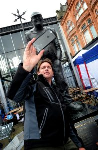 The 10th annual Bolton Food and Drink Festival, Victoria Square, Bolton, Lancashire. Star attraction on the final day was chef James Martin, who couldn't resist a selfie with the Fred Dinah statue in the town. Picture by Paul Heyes, Monday August 31, 2015.