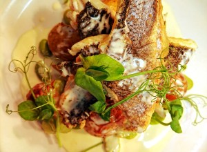 pan-fried-sea-bass-fillets-with-lemon-potatoes-broad-beans-and-peas-finished-with-a-vermouth-sauce