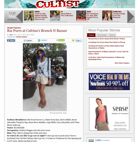 Cultist Streetstyle Profile on New Times Blog