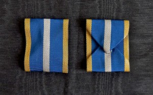 #RO028 – Romania, Kingdom, Order of the Romanian Crown, Type 2 (1932 – 1946), war merit ribbon
