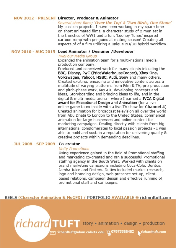 Richard Tuft's CV/Resume pg06 (c) Richard Tuft