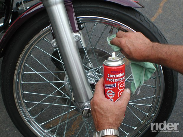 The best way to keep spokes and other metals looking new is with a regular application of corrosion protectant, especially if the bike lives in areas of high humidity or near the ocean.