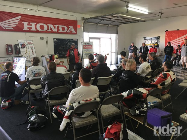 The day begins with a briefing in the classroom, before we are split into two groups. While one group is on the track, the other is in the classroom, and we rotate in 20-minute increments all day.