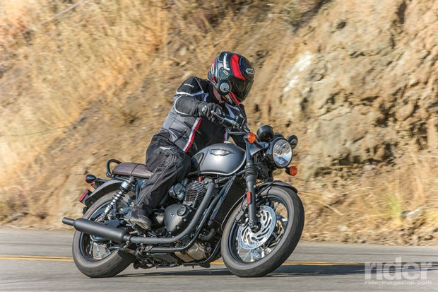 Slower steering and plenty of stability make the Triumph easy to ride on winding roads, but it runs out of cornering clearance at a faster pace.