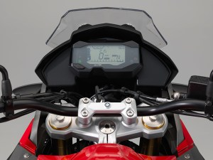 Behind the BMW G 310 GS's small windscreen is an all-LCD instrument panel.