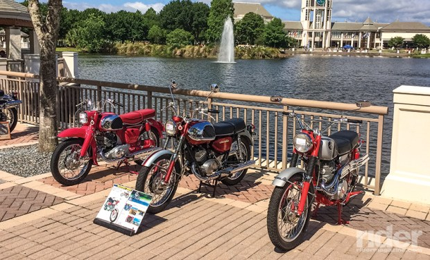 A lovely Suzuki 250 flanked by a pair of vintage '60s Hondas were just three of the 270 entries in 2016's Riding Into History Concours d'Elegance at the World Golf Village near St. Augustine, Florida.