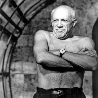 A lot of pictures of Pablo Picasso without his shirt on