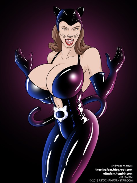 Jessica Biel in her sexy latex catwoman suit, as drawn by the excellent Ultrafem