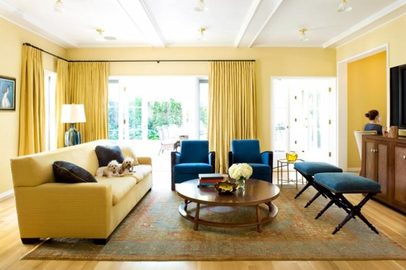 20 Charming Blue and Yellow Living Room Design Ideas   Rilane Cozy Blue and Yellow Living Room