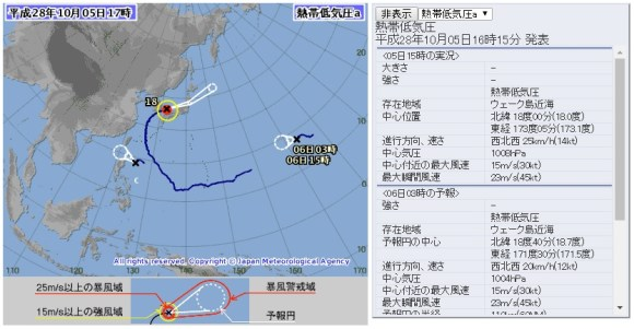 台風18号と温帯低気圧