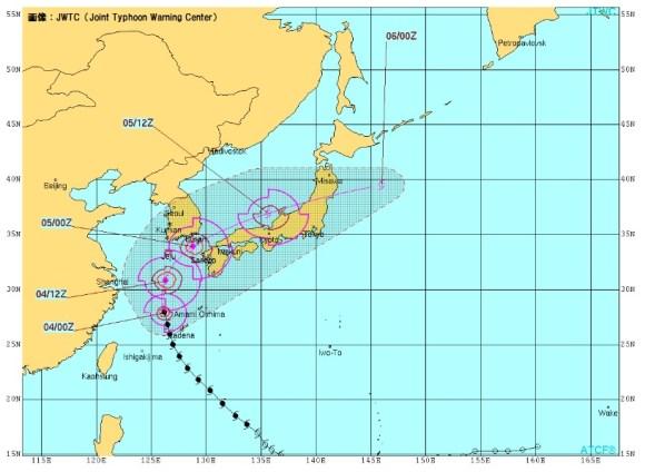 台風18号 JWTCの進路予想図