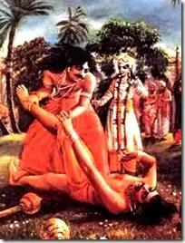 Fight between Bhima and Jarasandh while Krishna watches