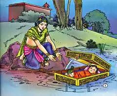 Birth of Karna and Kunti letting him go away