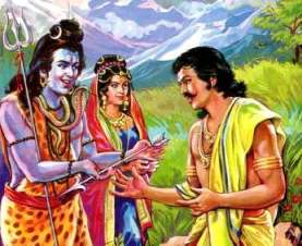 Lord Shiva giving astra and shastras to Arjuna