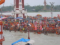 Kanwar festival - Devotees taking gangajaal from har ki pairi