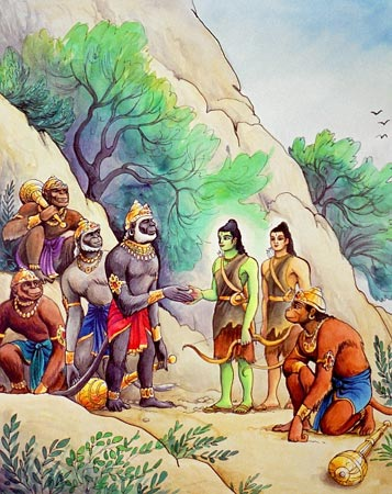 Rama in consultation with monkeys