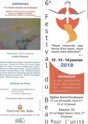 6e FESTIVAL DU BEAU POUR L'UNITÉ - janvier 2018