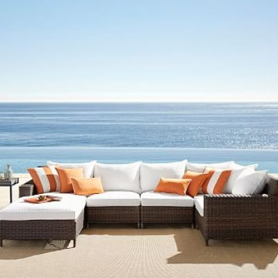 Torrey All-Weather Wicker Square-Arm Chaise Sectional Set - Espresso