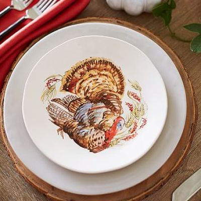 Watercolor Turkey Salad Plate, Set of 4