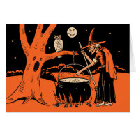 1940s Vintage Halloween Witch with Cauldron Card