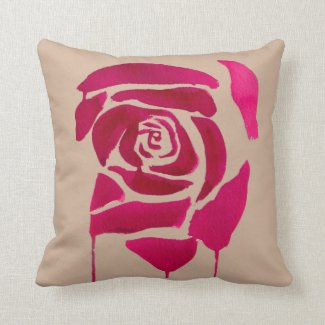 Abstract rose original watercolor art floral pillow