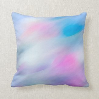 Abstract Wave Watercolor Multicolor Throw Pillow