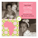 Africa Block: Pink Flora 5.25x5.25 Square Paper Invitation Card