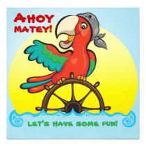 Ahoy Matey Pirate Parrot Birthday Party Invitation
