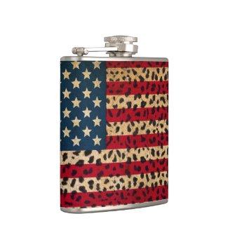 American Flag in Leopard Spot Print Design Hip Flask