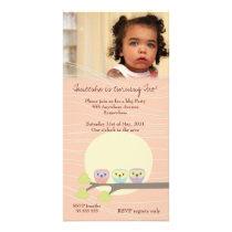 Owls Girls Birthday Party Premium Invite Custom Photo Card